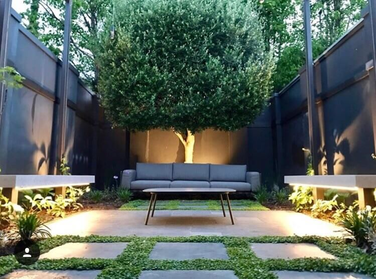 Paving, feature tree, floating bench seats, pergola, plants, garden lighting