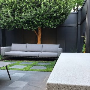 Paving, Landscaping, and Design with floating Seats