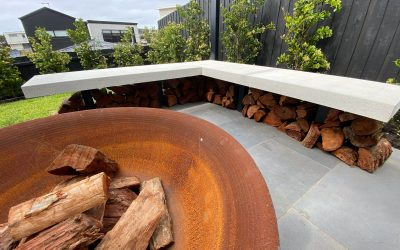 Fire pit, water feature, plants, retaining walls, lawn
