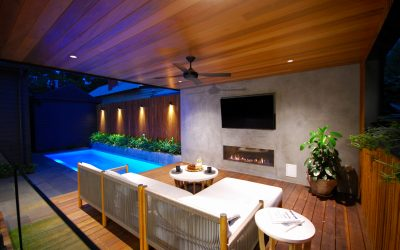 Pool, pool house, bbq, plants, fireplace, TV