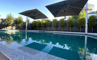Pool, umbrellas, infinity edge, paving