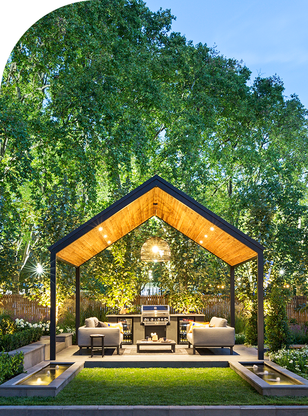 garden patio with lights