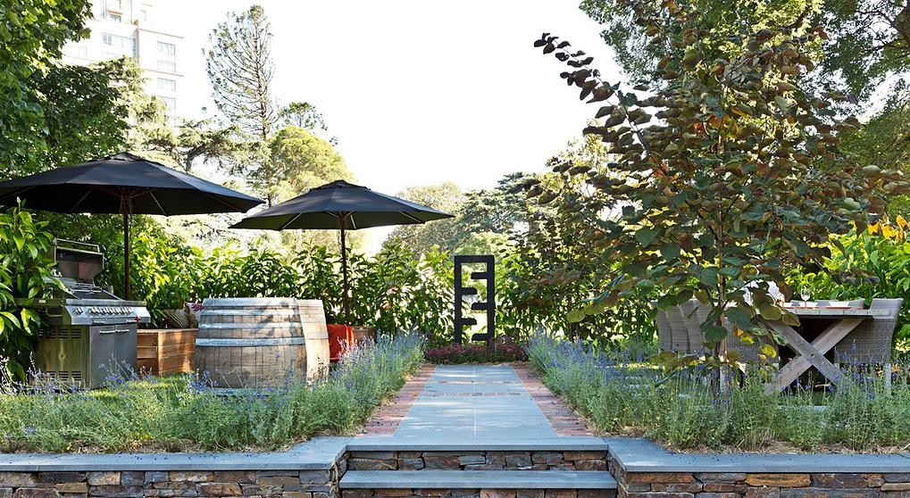 outdoor garden with grill
